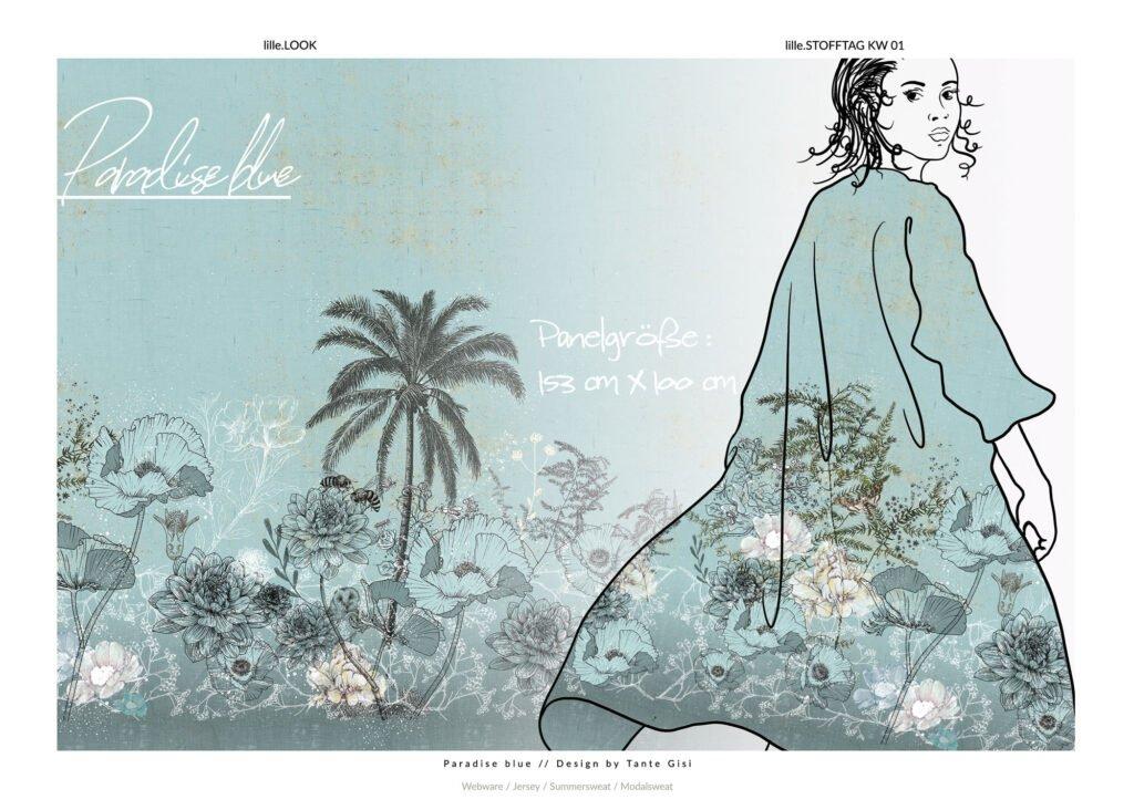 Stoff Paradise Blue von Tante Gisi