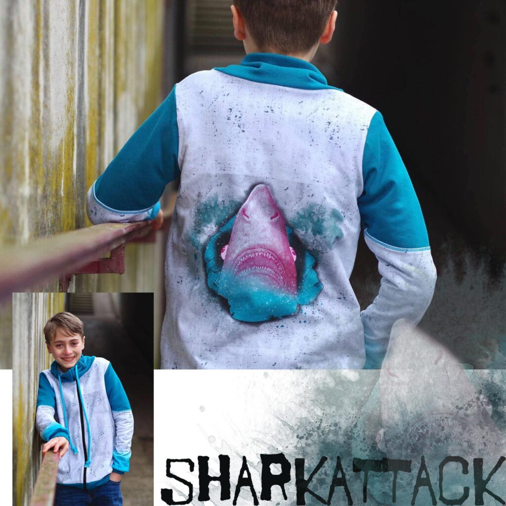 Stoff Sharkattack von Tante Gisi
