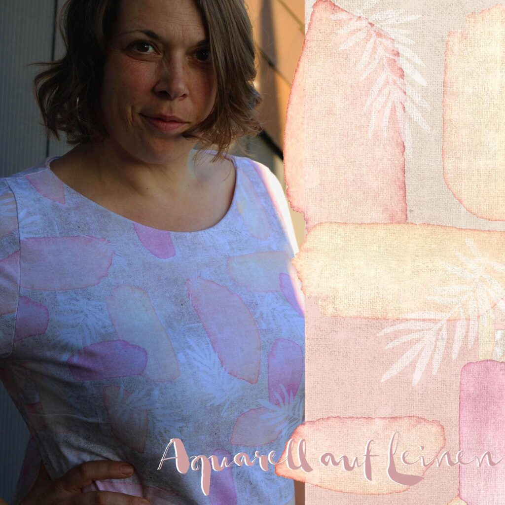 Stoff Aquarell auf blau und Aquarell auf Leinwand von Tante Gisi