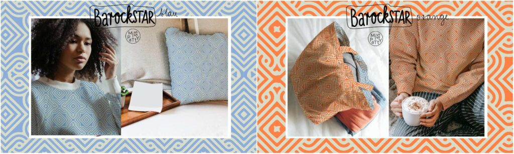Stoff Barockstar (Farben orange und blau)