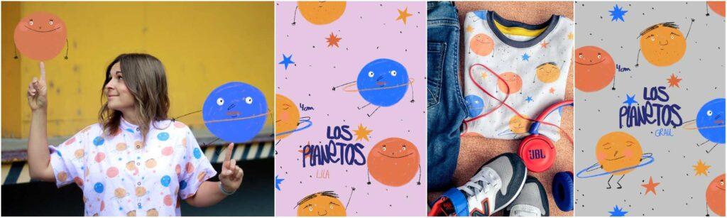 Stoff Los Planetos (Farben grau und flieder)